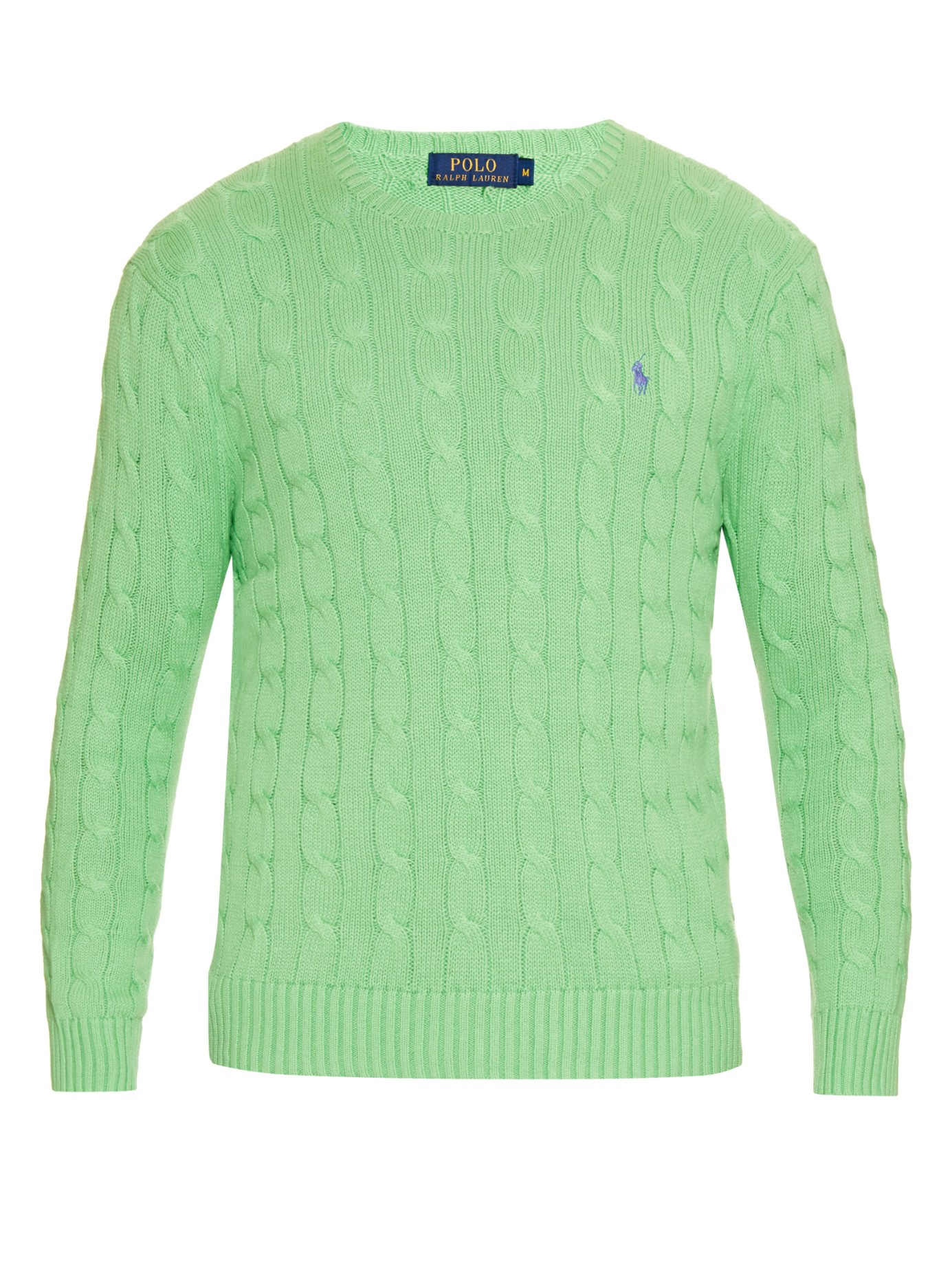 f491737d575cd6 Lyst - Polo Ralph Lauren Cable-knit Cotton Sweater in Green for Men
