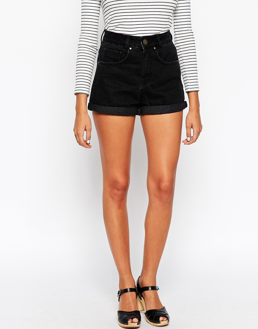 Black High Waisted Mom Shorts - The Else