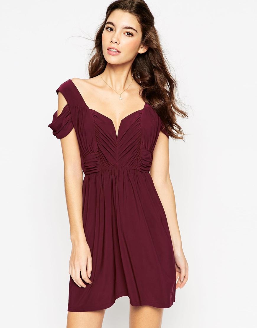 Asos wedding drape cold shoulder mini dress in purple lyst for Cold shoulder dresses for wedding