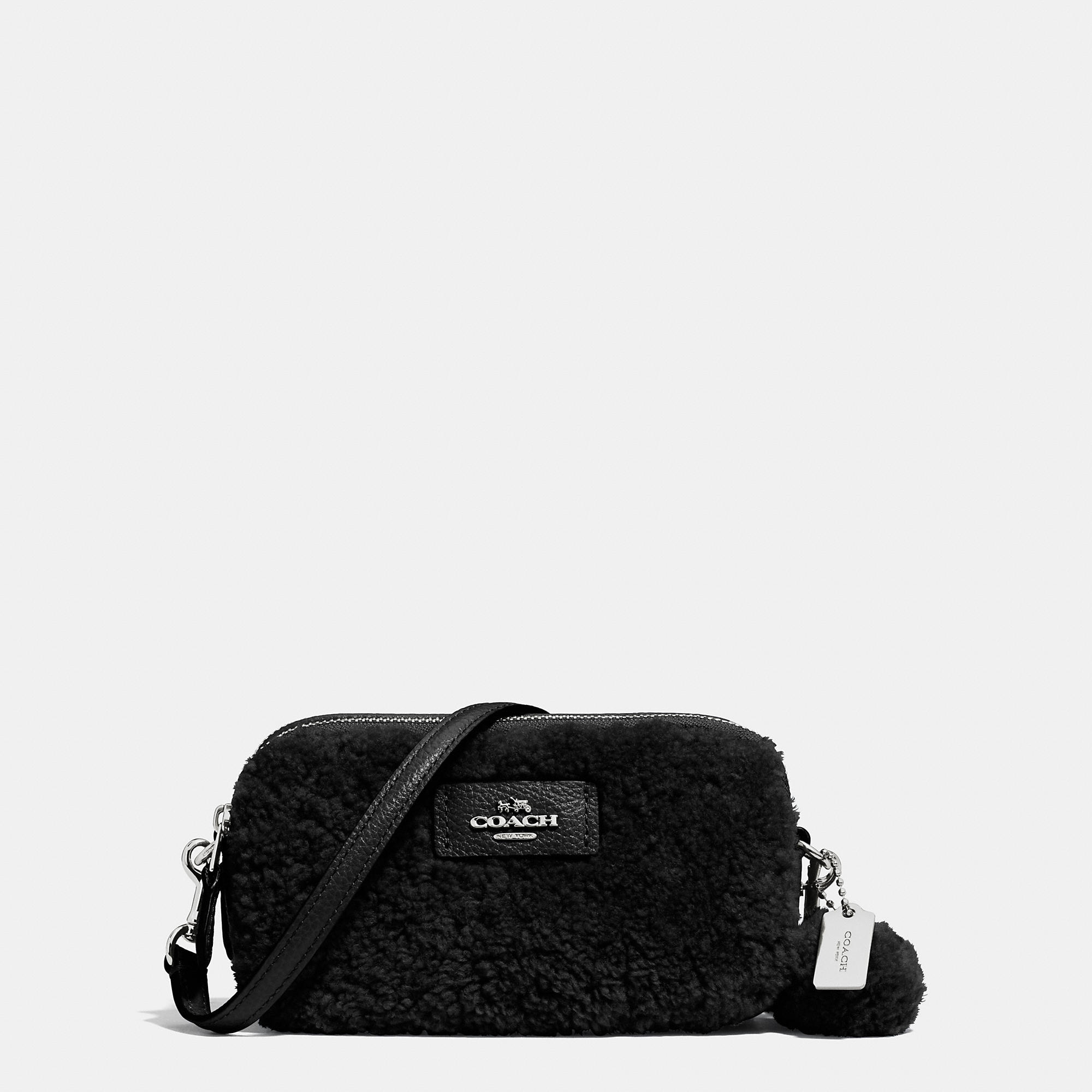 ... low price lyst coach small shearling cross body bag in black c20d5 75b71 3af31c27396b8