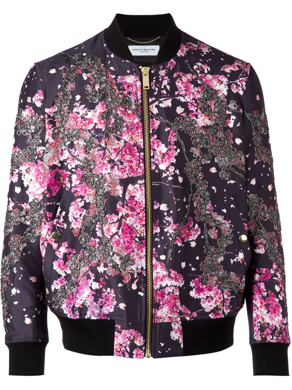 Christian dada floral print embroidered bomber jacket in