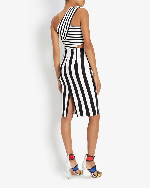 Lyst Cushnie Et Ochs One Shoulder Striped Dress In Black