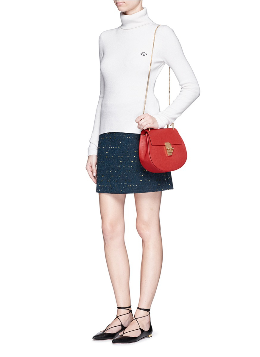 Lyst - Chloé  drew  Small Grainy Leather Shoulder Bag in Red bf9e84b1ff7fe