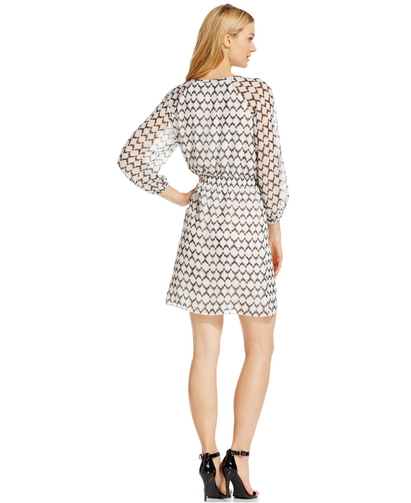 03d8798da36 Lyst - Ivanka Trump Chiffon Ikat-Print Blouson Dress in Black