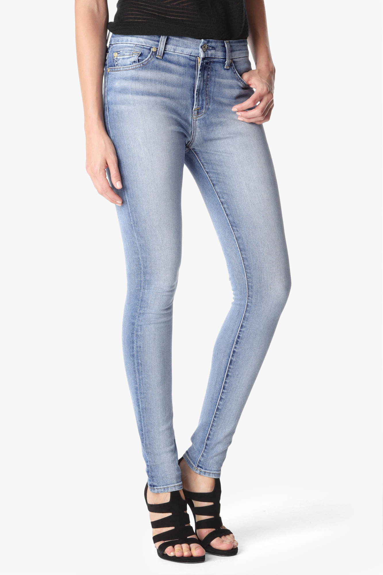 7 for all mankind Mid Rise Skinny With Contrast Squiggle In Pretty ...