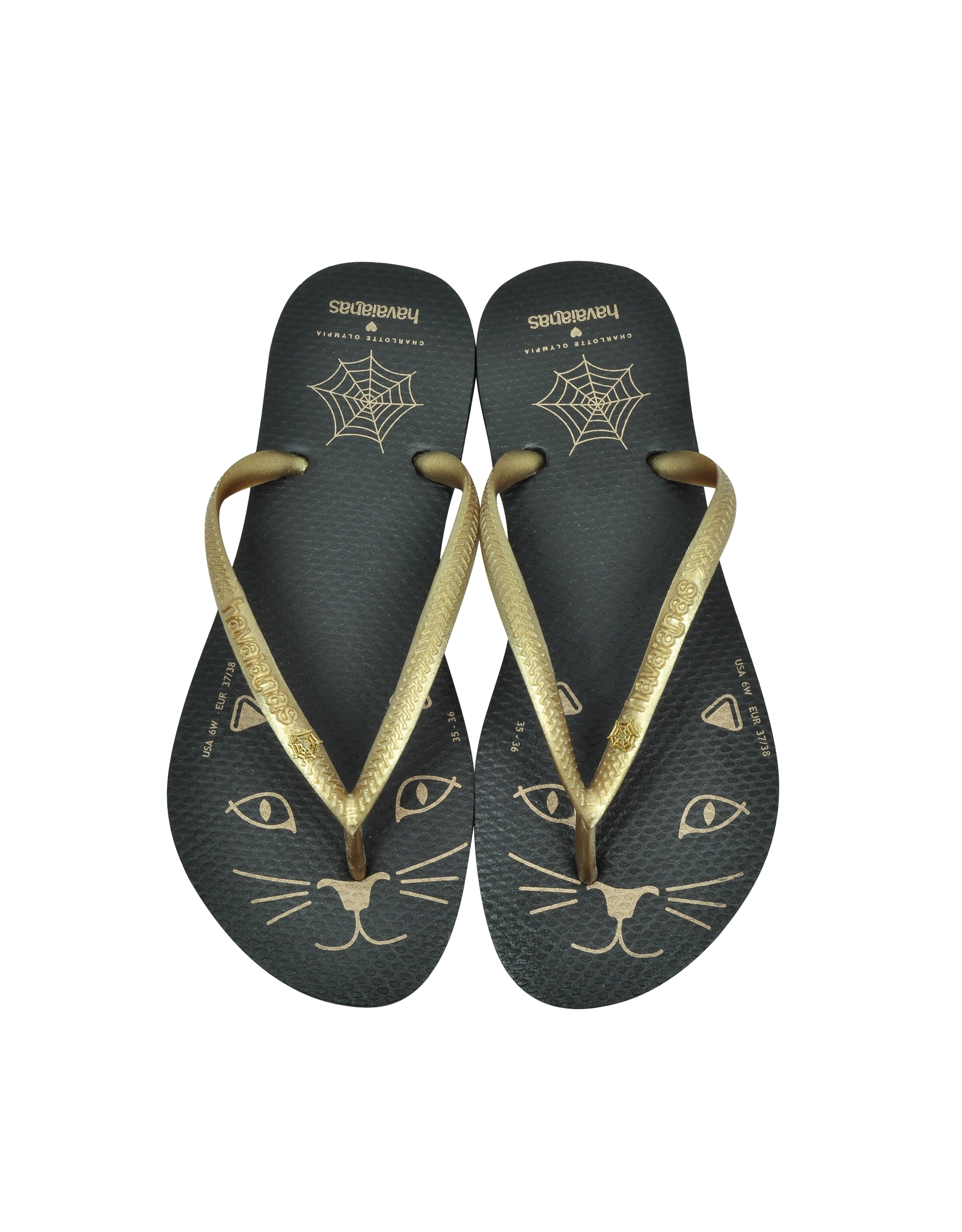 1e88fc48be5 Lyst - Charlotte Olympia Kitty Havaianas Black Rubber Flip Flop in ...