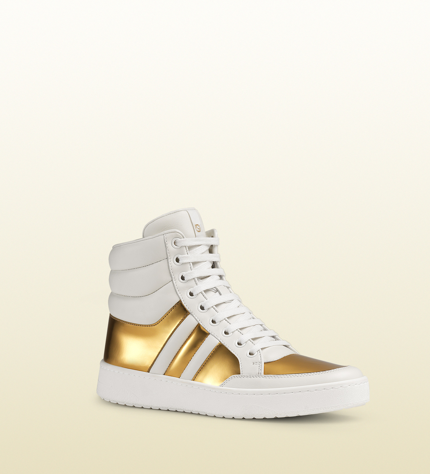 412b271ff Lyst - Gucci Contrast Padded Leather High-top Sneaker in Metallic ...