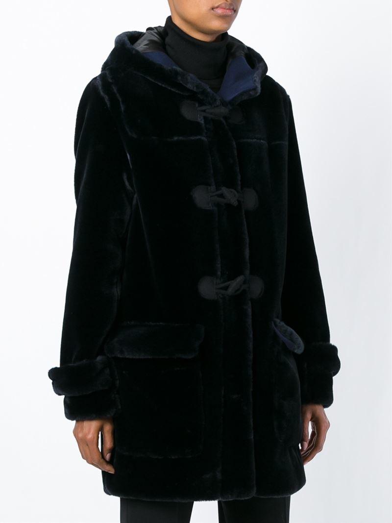 Msgm Faux Fur Duffle Coat in Black | Lyst