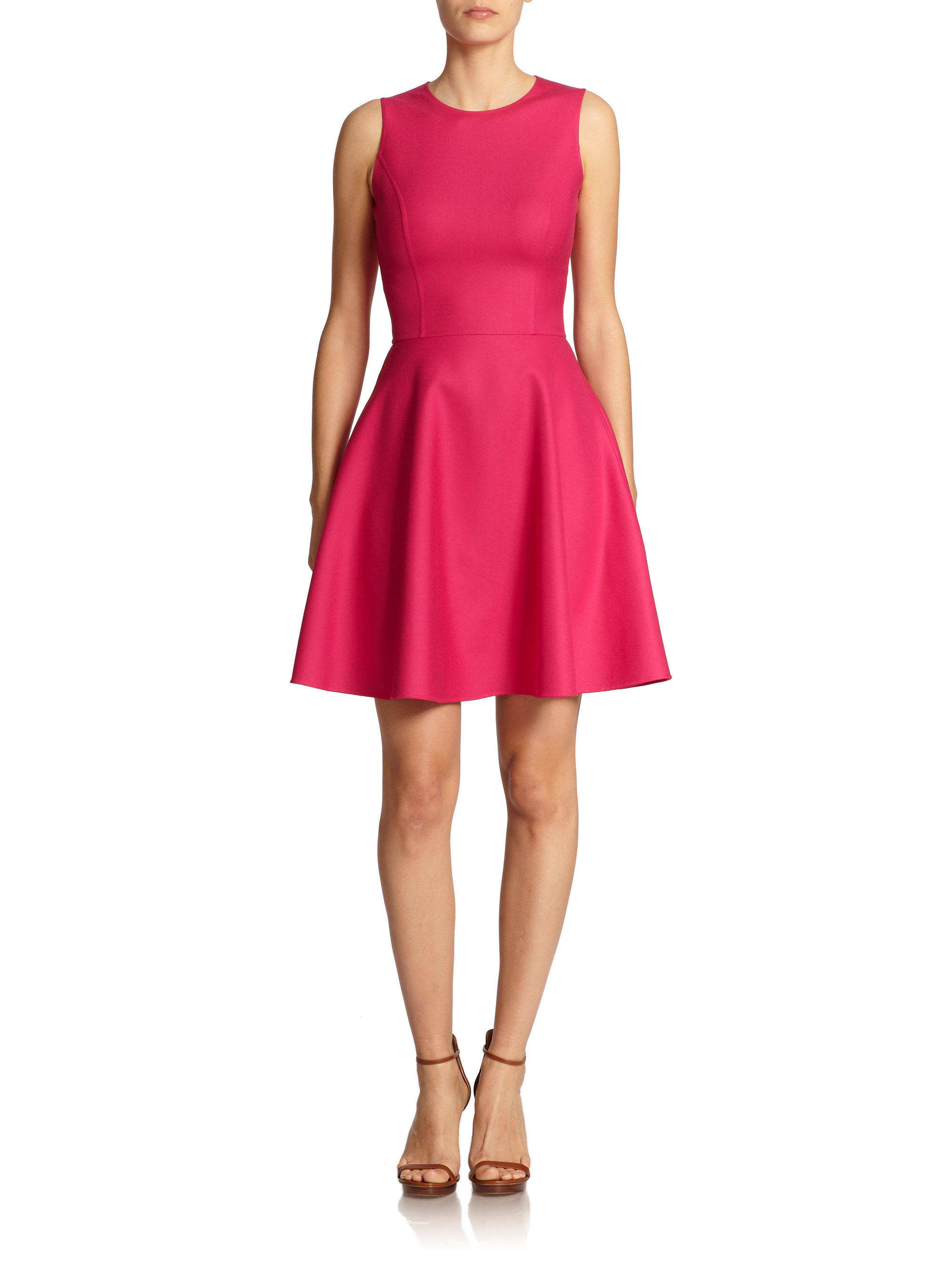 Lyst Michael Kors Silk Fit Amp Flare Dress In Pink