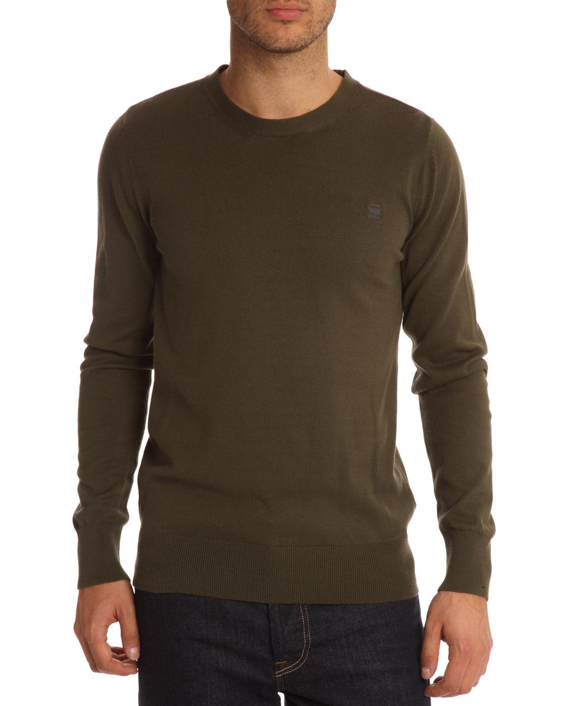 g star raw amos khaki sweater in khaki for men lyst. Black Bedroom Furniture Sets. Home Design Ideas