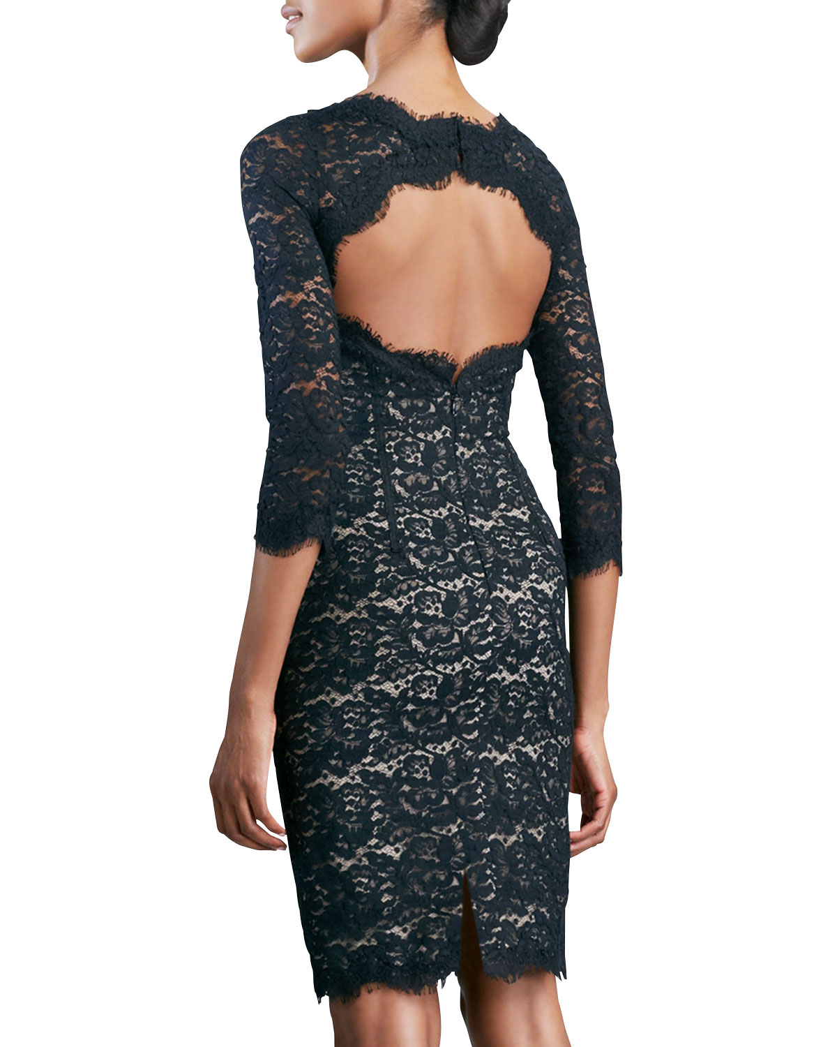 2019 year lifestyle- Back Open lace cocktail dress pictures