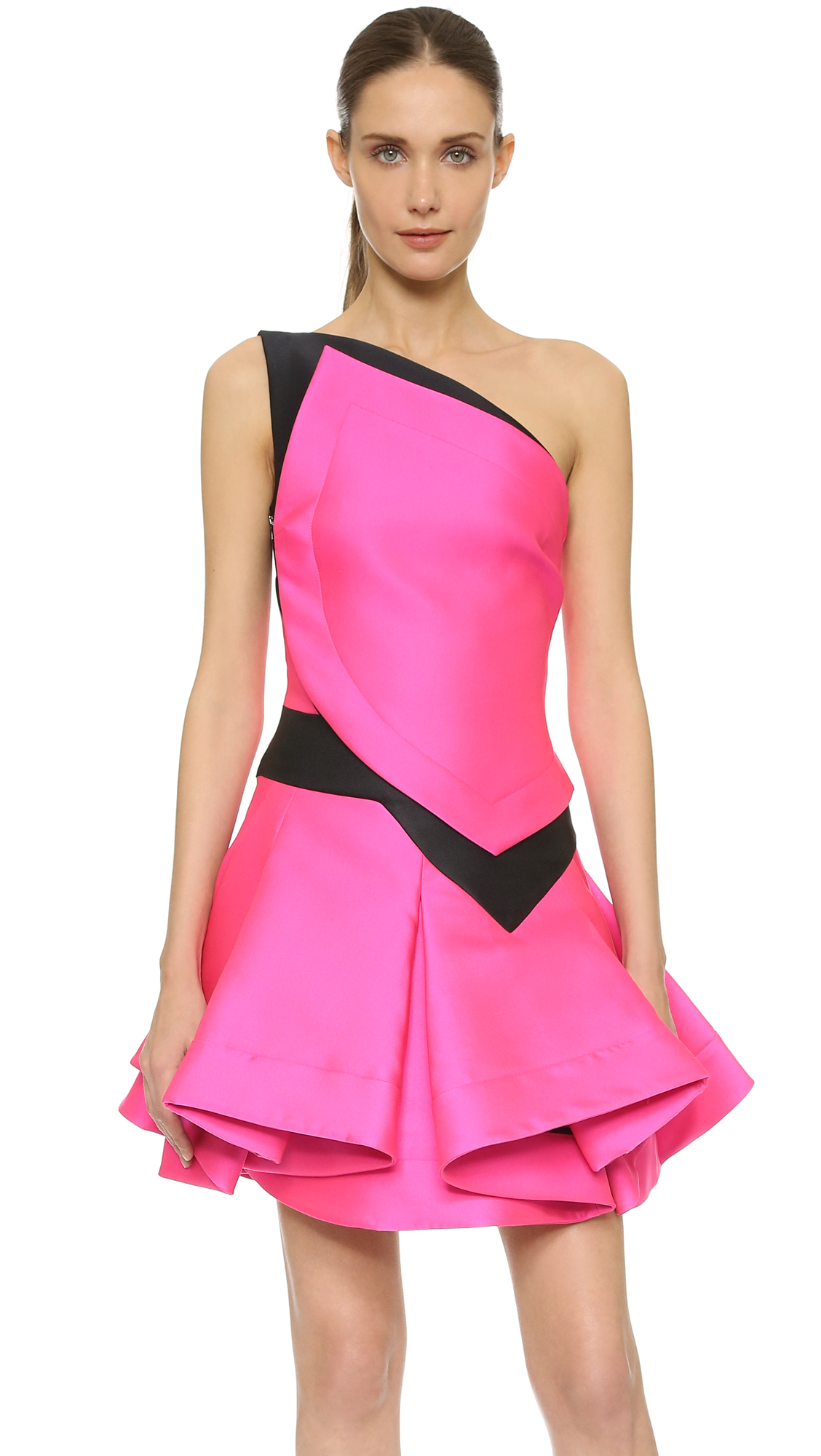Antonio berardi One Shoulder Dress - Pink/black in Pink | Lyst