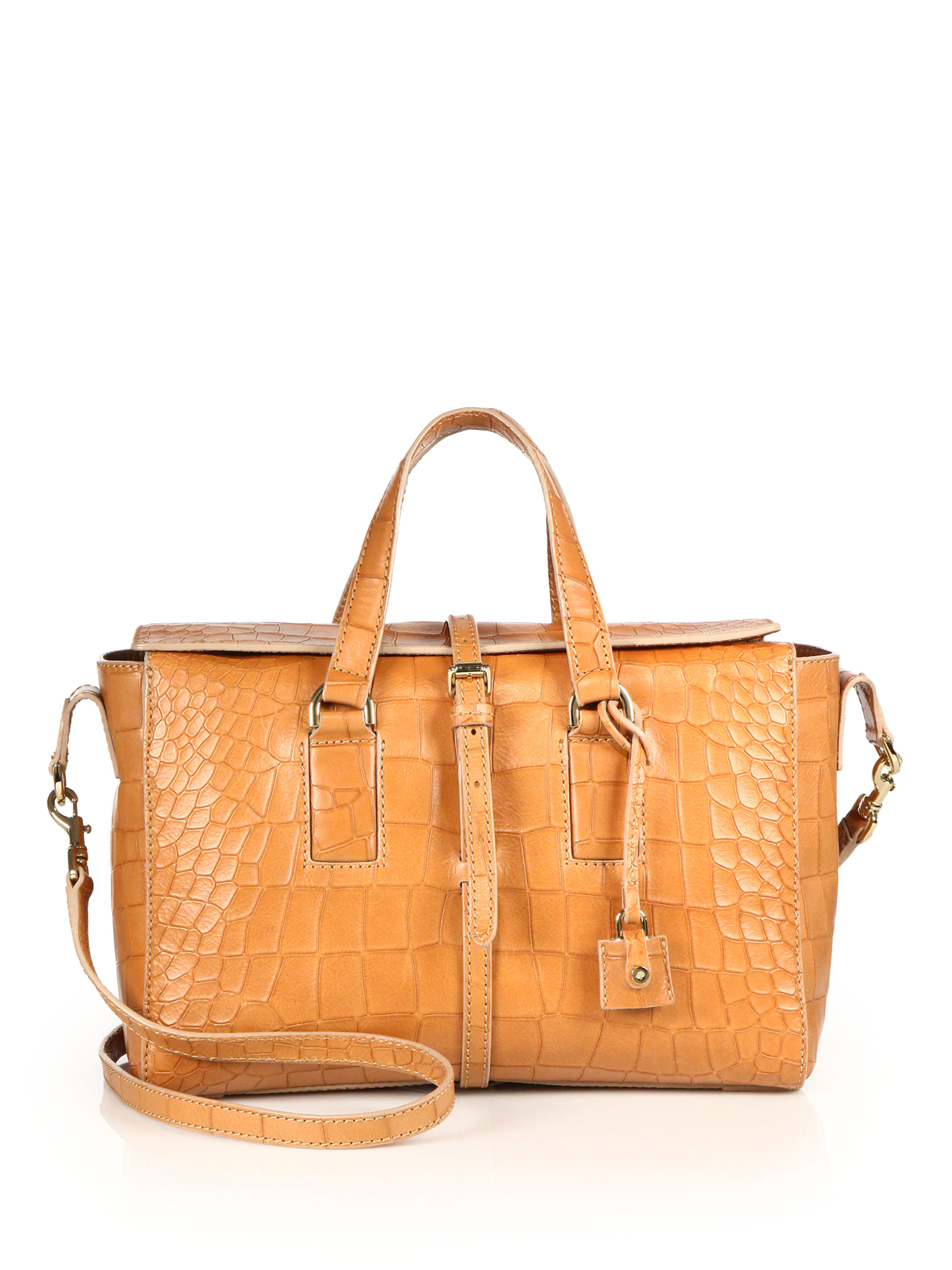 2a99fb4fae ... low cost lyst mulberry roxette small crocodile embossed leather satchel  in fa875 ef227