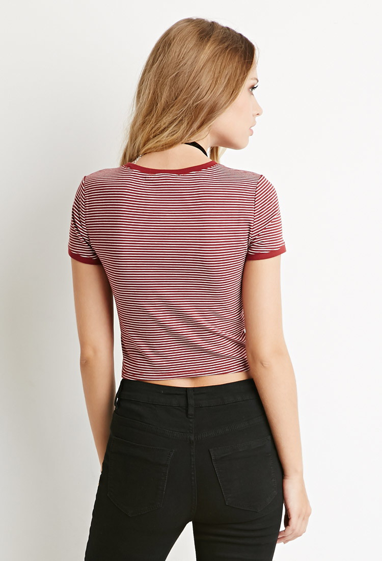 Clothes Ringer 2015 ~ Forever micro striped ringer tee in red lyst