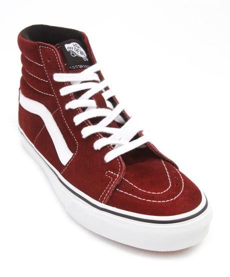 Vans Sk8 Hi Burgundy Suede Sneakers In Red For Men