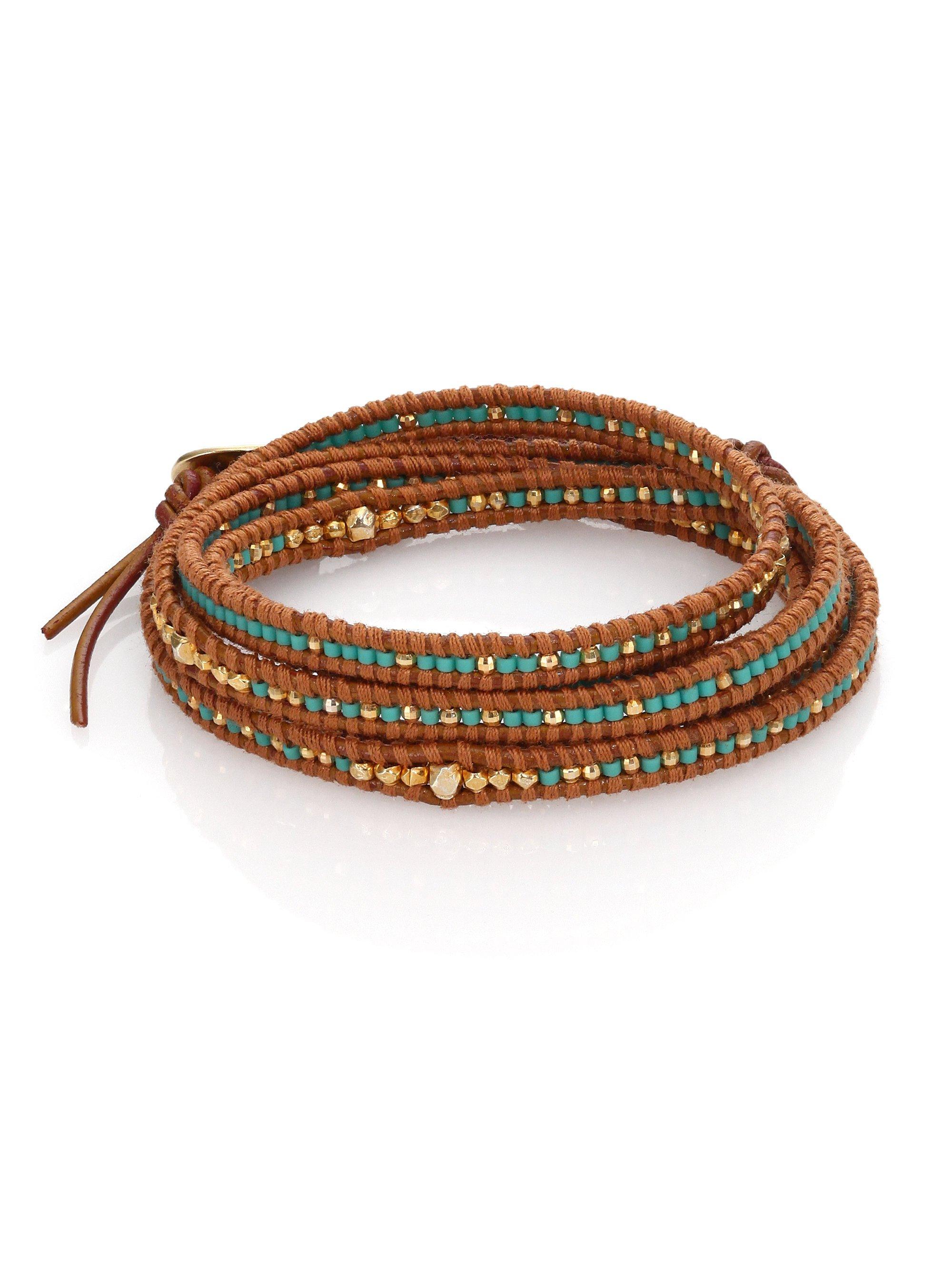 chan luu beaded leather multi row wrap bracelet in brown
