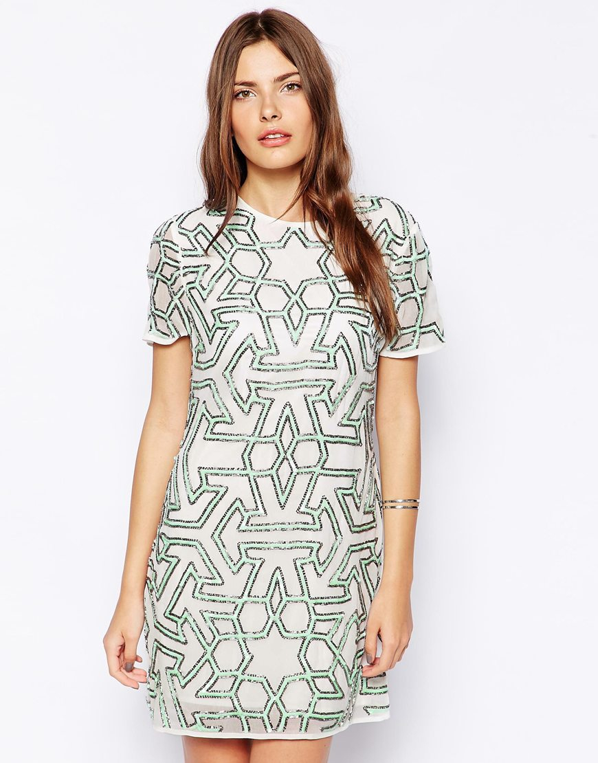 Lyst Asos Graphic Beaded T Shirt Dress In Black