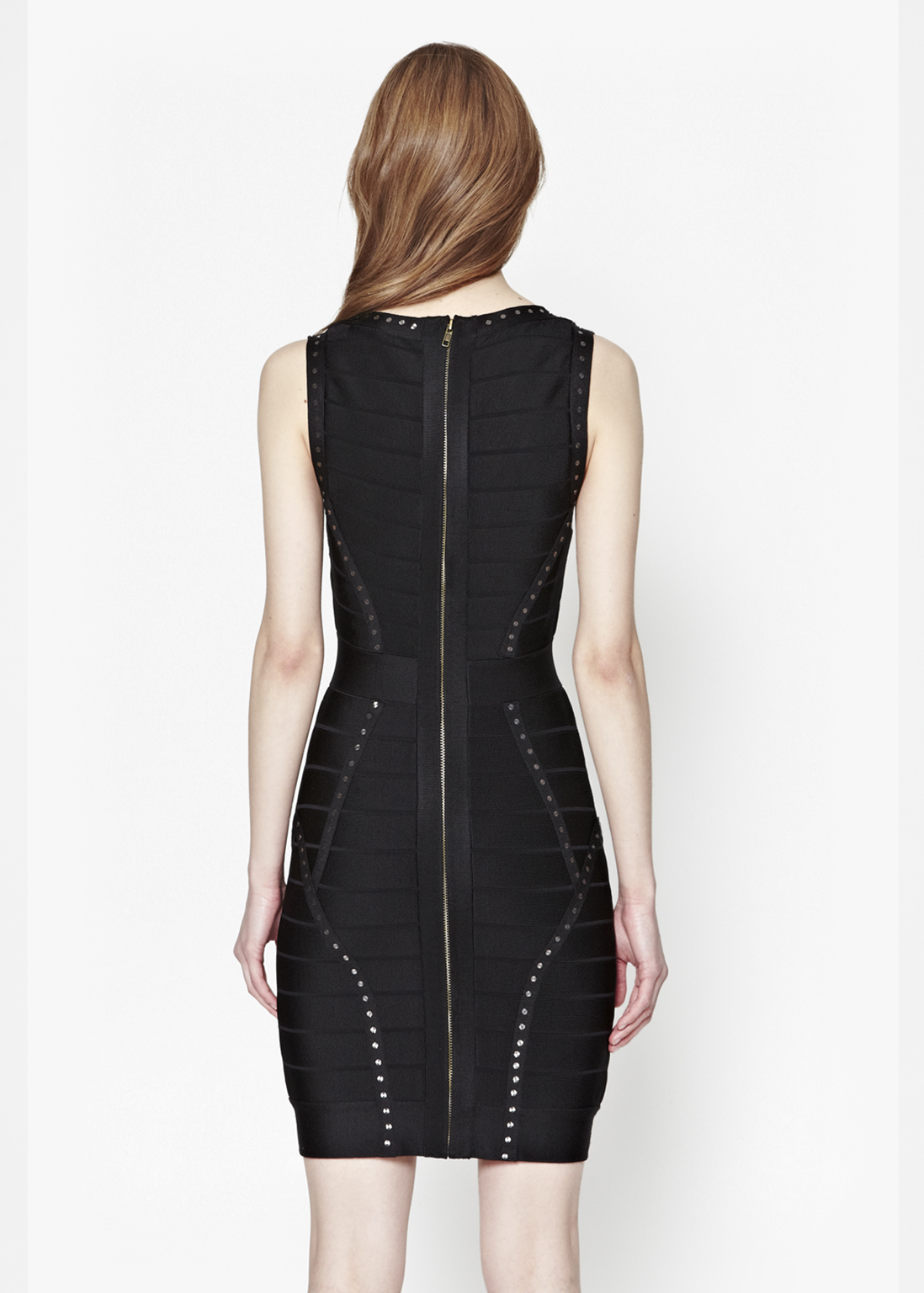 connection frosted spotlight bodycon dress in black