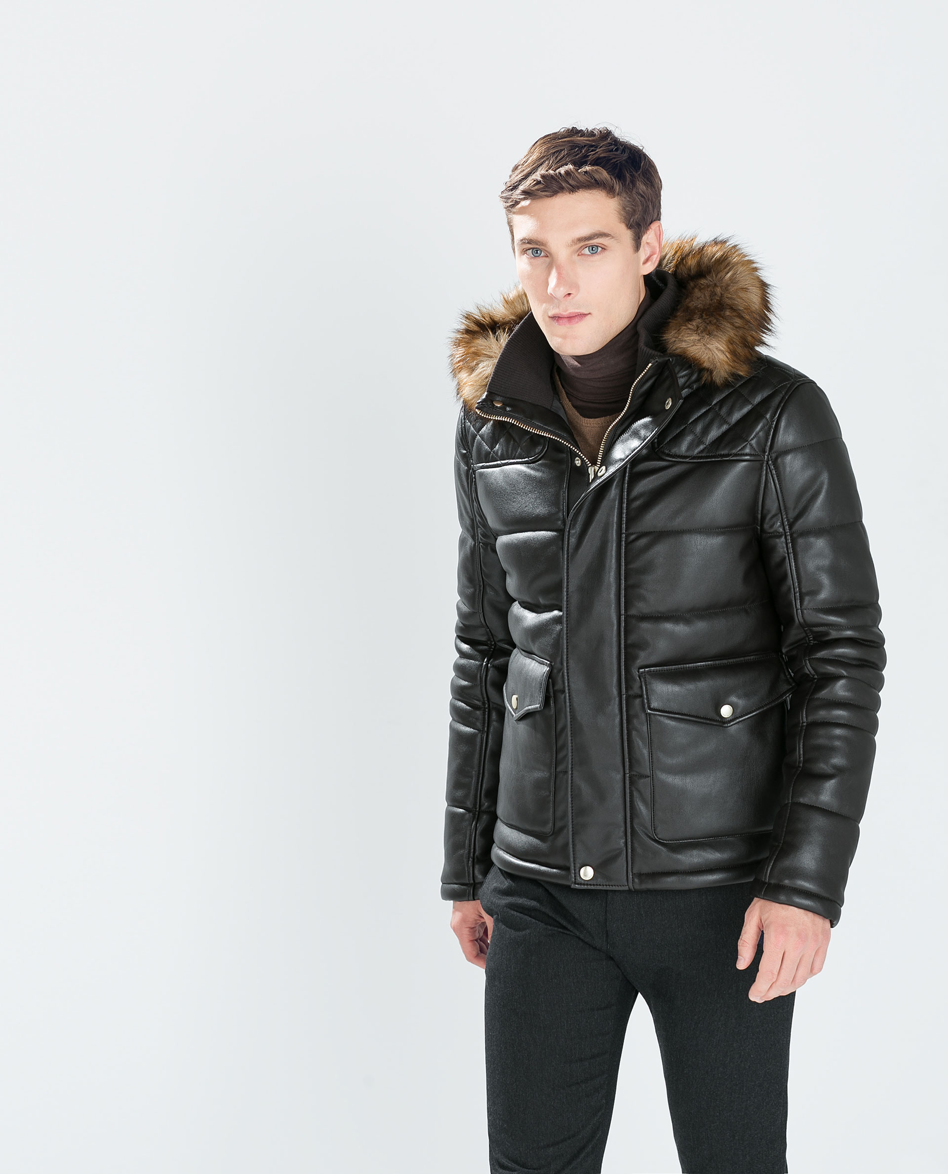 Leather Jacket Fur Hood