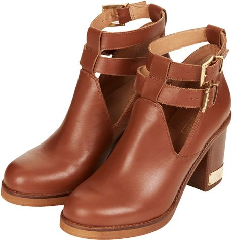topshop all yours ankle boots in brown lyst