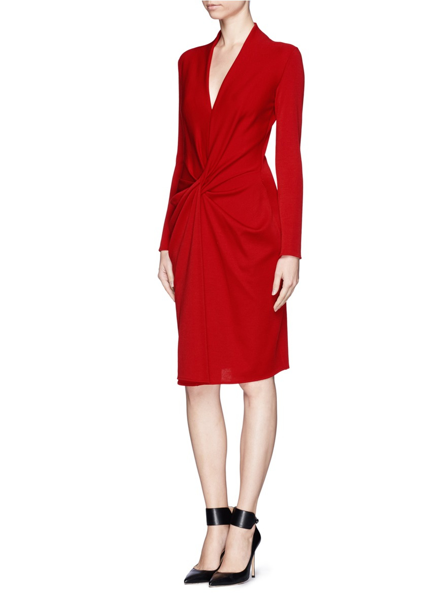 21a07ce18954 Lanvin Twist Front Knit Dress in Red - Lyst