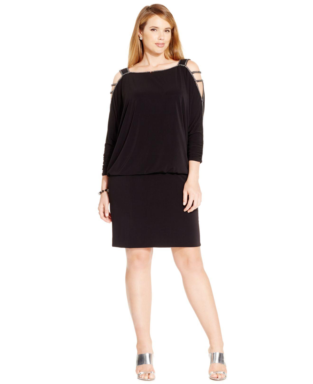 Betsy & Adam Plus Size Cold-shoulder Embellished Blouson Dress in ...