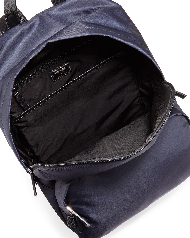 Lyst Prada Zaino Men S Clean Nylon Backpack In Blue For Men