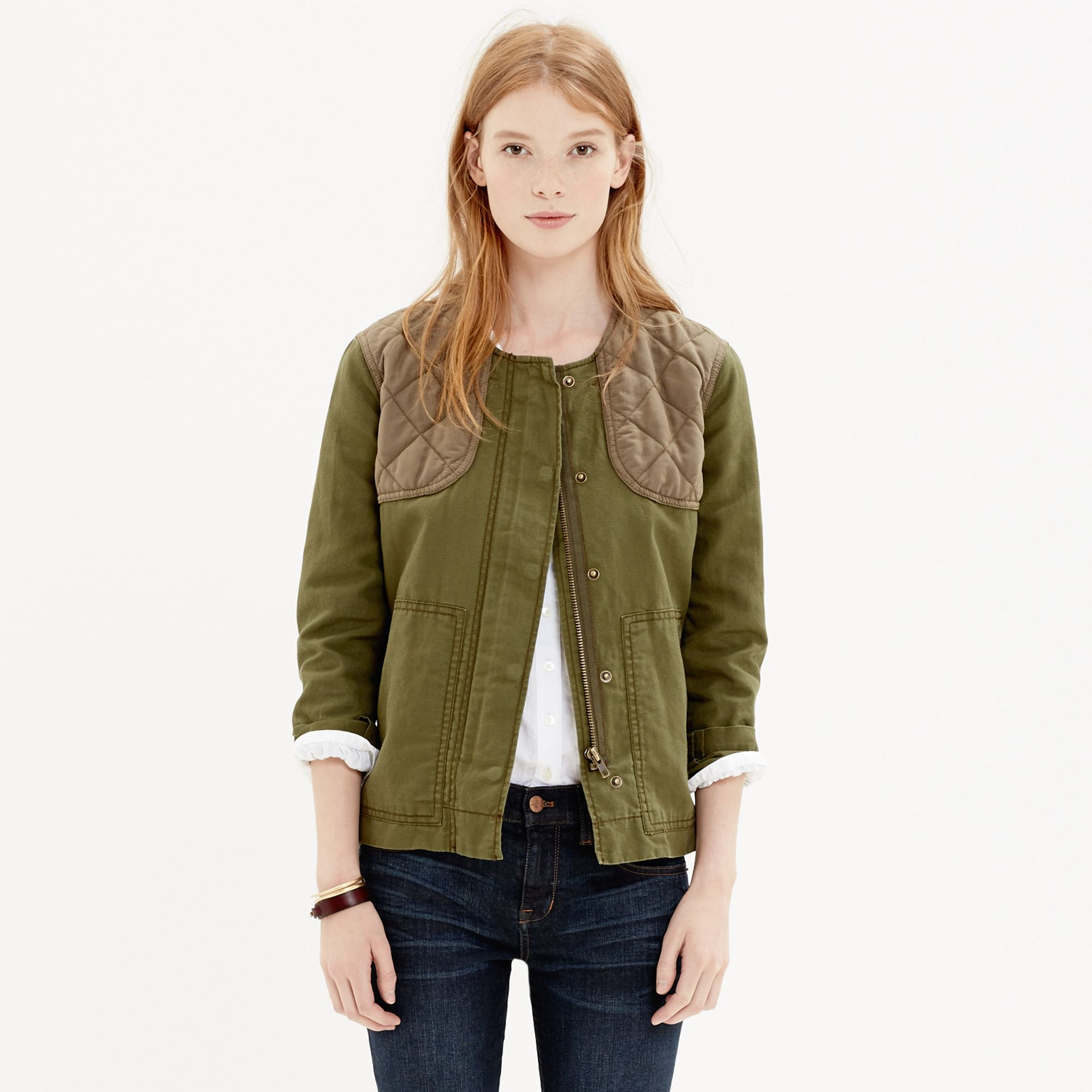 Madewell Quilted Bomber Jacket In Green Loden Lyst