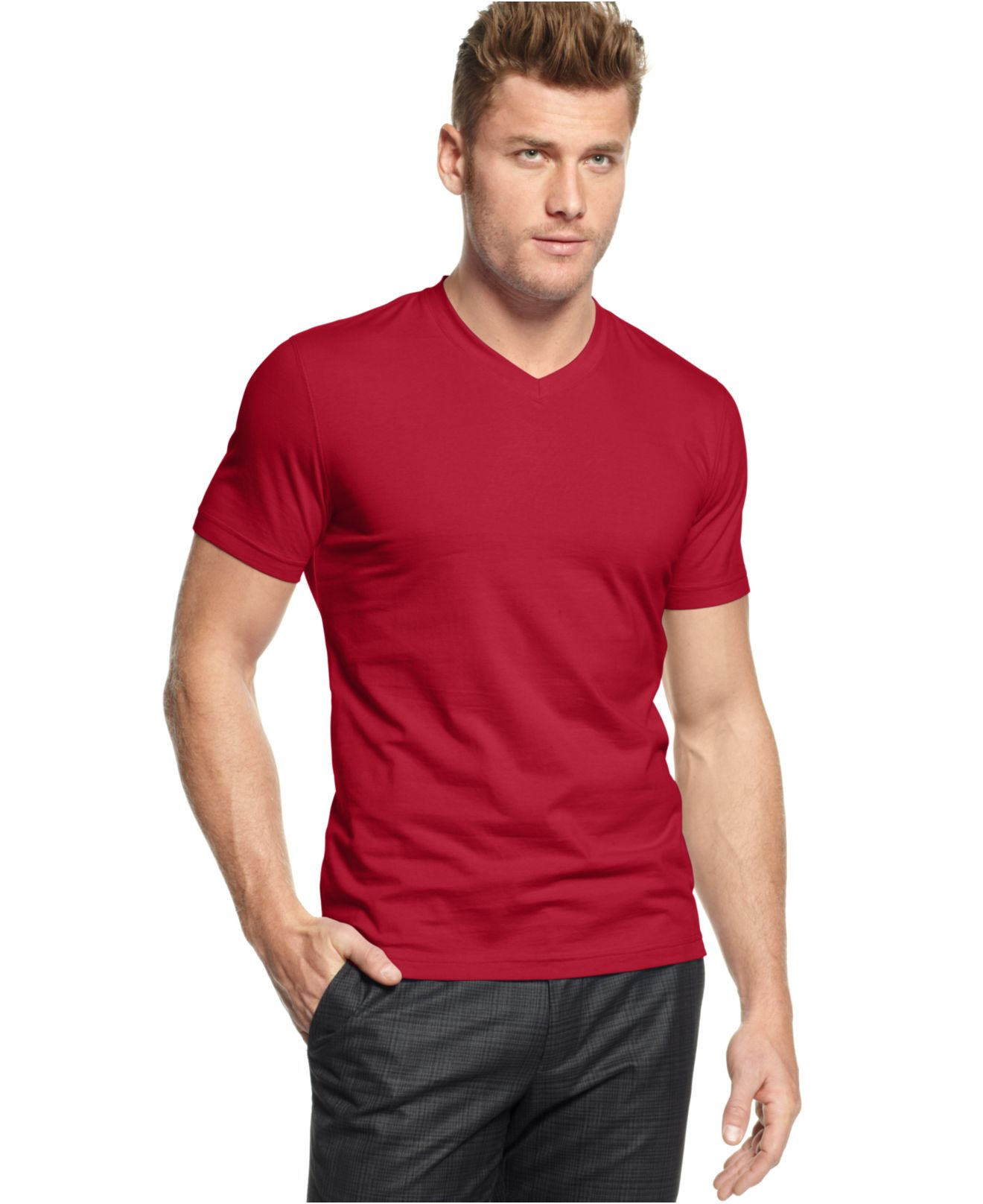 alfani slim fitted v neck t shirt in red for men fierce