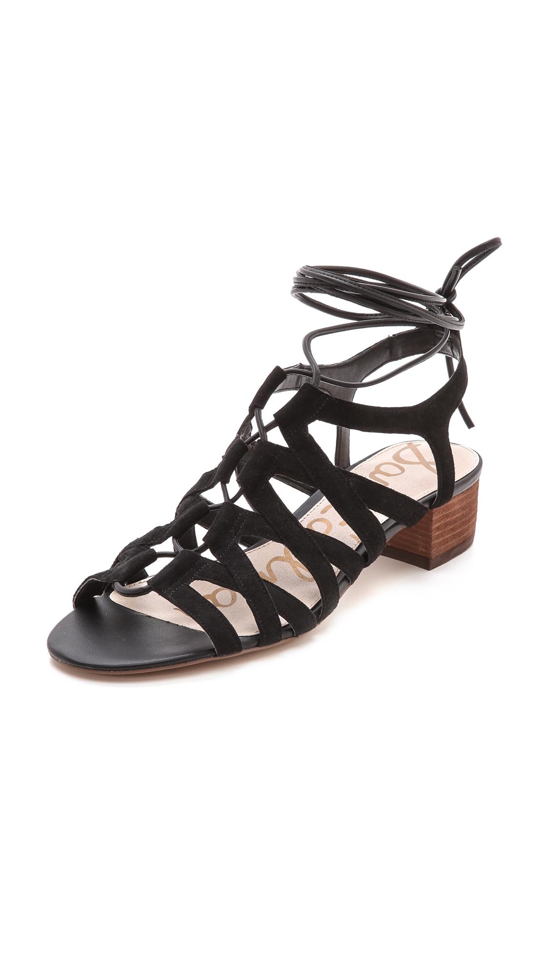 Sam Edelman Ardella Low Heel Sandals Putty In Black Lyst
