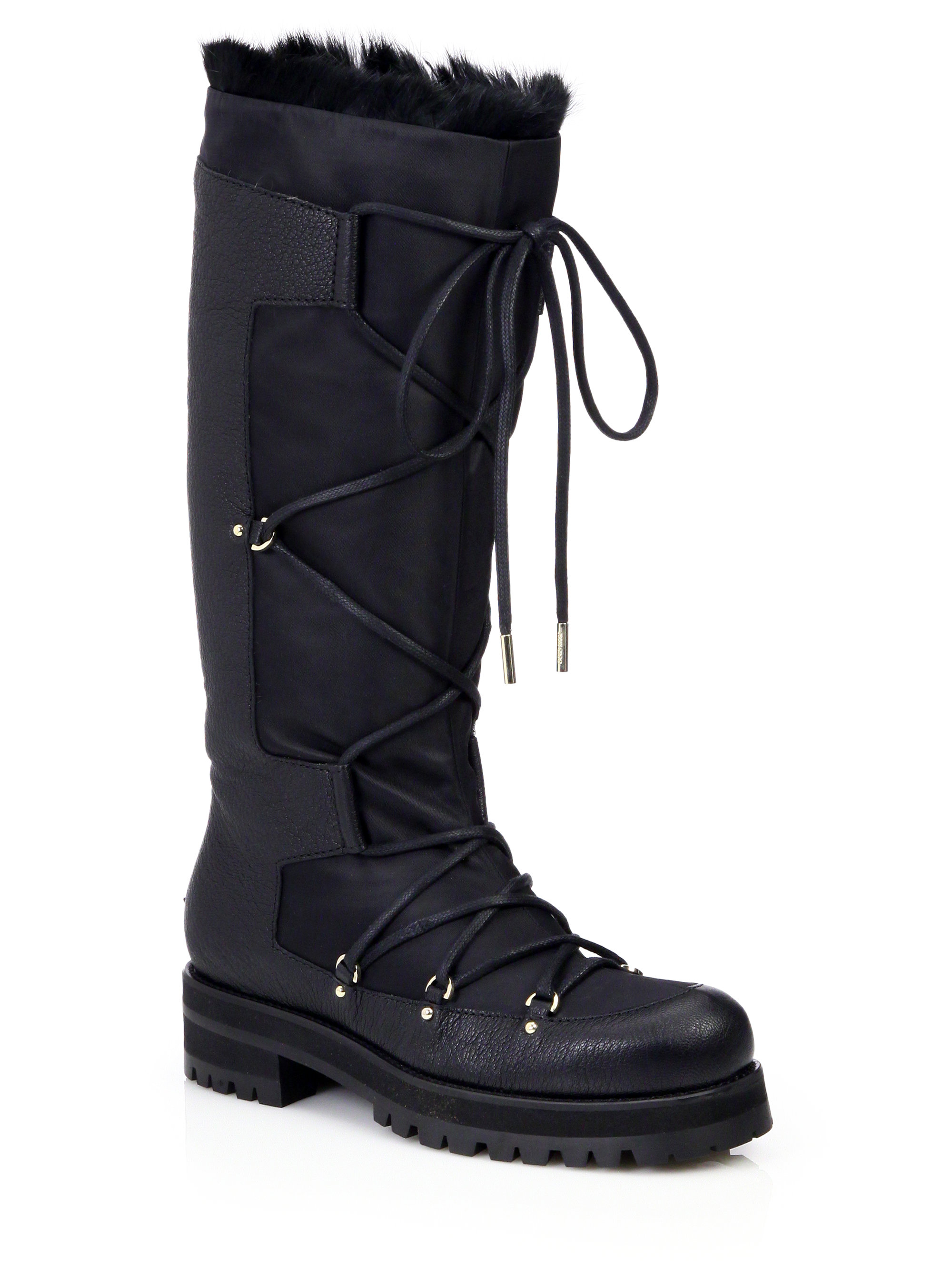 ac2158298e6 Lyst - Jimmy Choo Dunn Knee-high Leather   Rabbit Fur Lace-up Boots ...