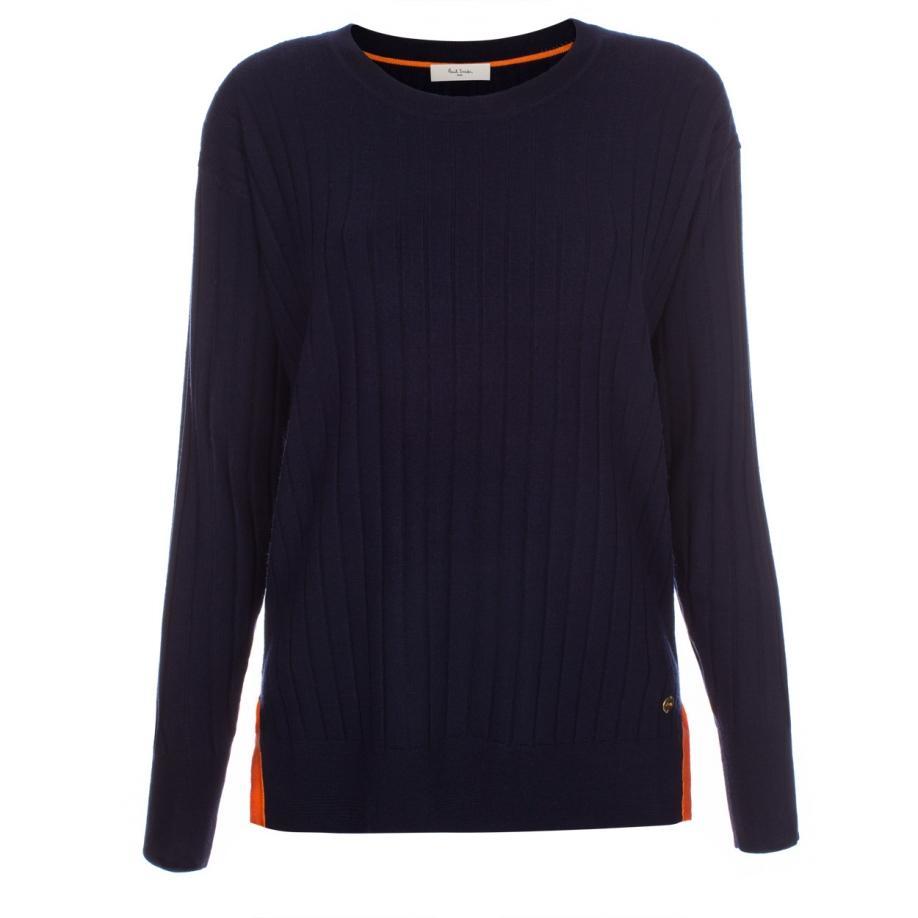 Paul smith Women's Navy Merino Wool Rib-knit Sweater in Blue | Lyst