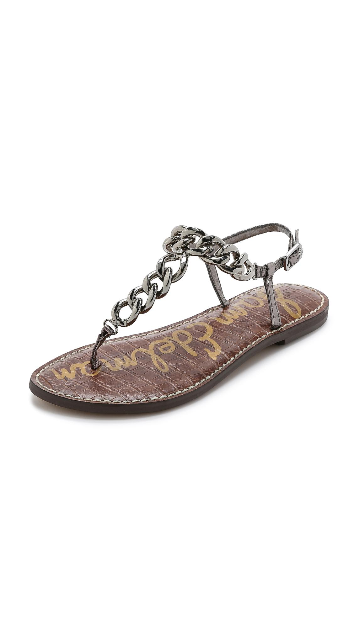 03b5e4c5d8257d Lyst - Sam Edelman Grella Chain Strap Sandals - Pewter in Metallic