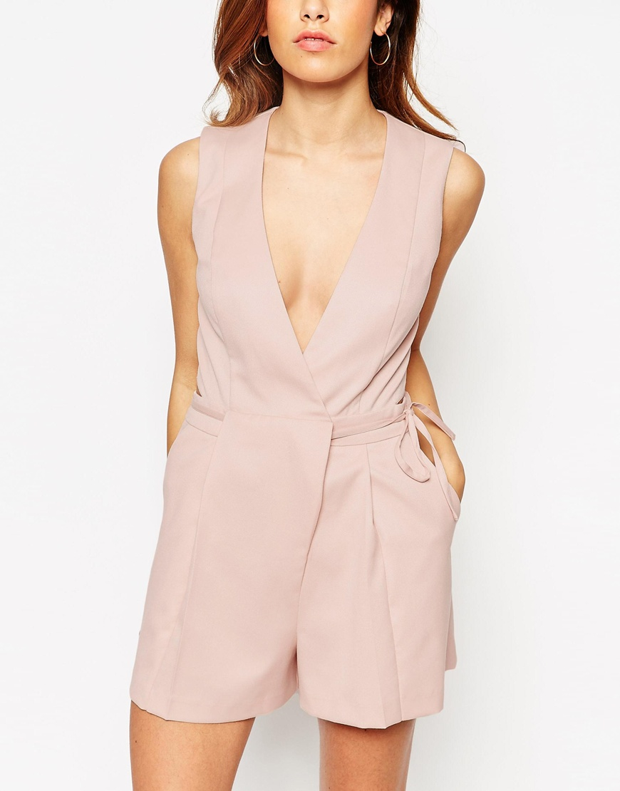 lyst asos playsuit with origami wrap in pink