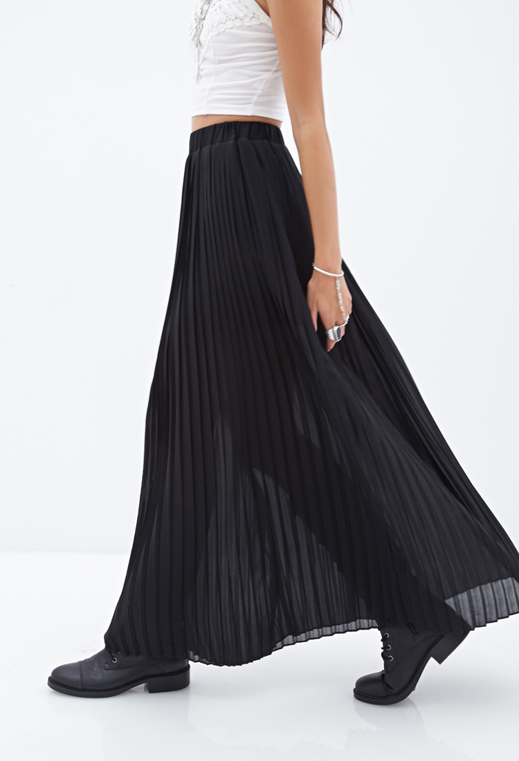 ceca6952ca Forever 21 Pleated Chiffon Maxi Skirt in Black - Lyst