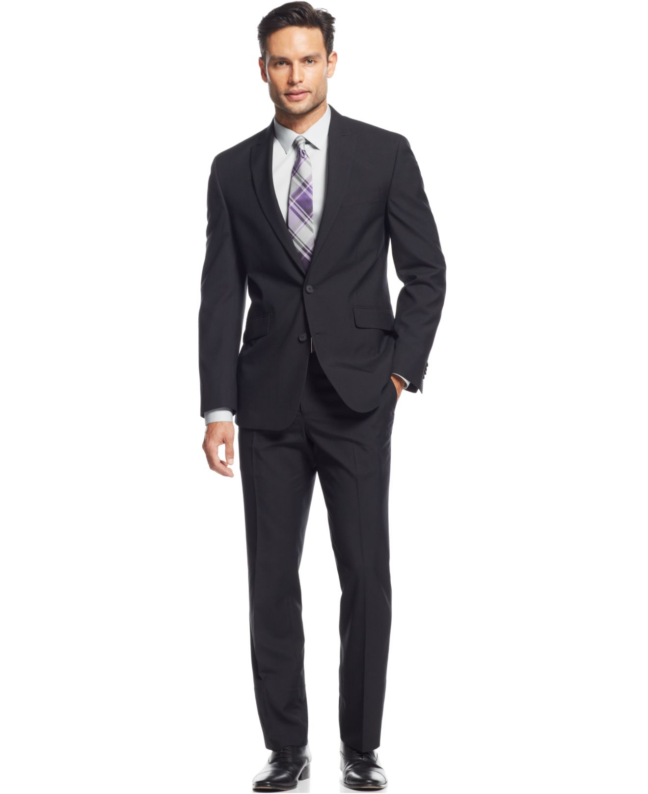 Kenneth cole reaction Black Tonal Plaid Slim-fit Suit in Black for