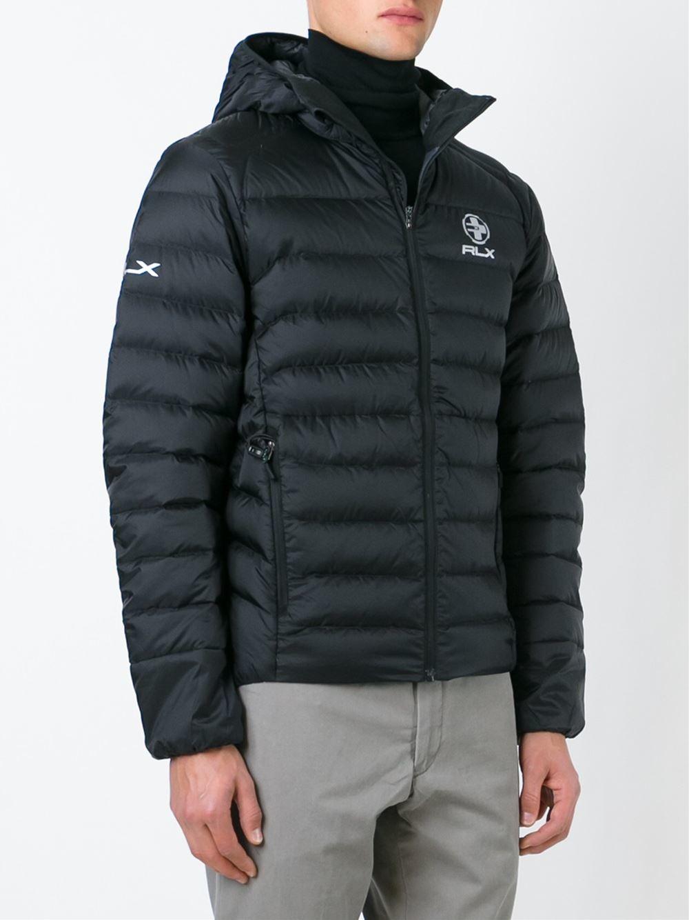 rlx ralph lauren hooded padded jacket in black for men lyst. Black Bedroom Furniture Sets. Home Design Ideas