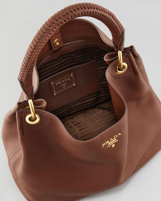 Prada Daino Woven-Handle Hobo Bag in Brown | Lyst