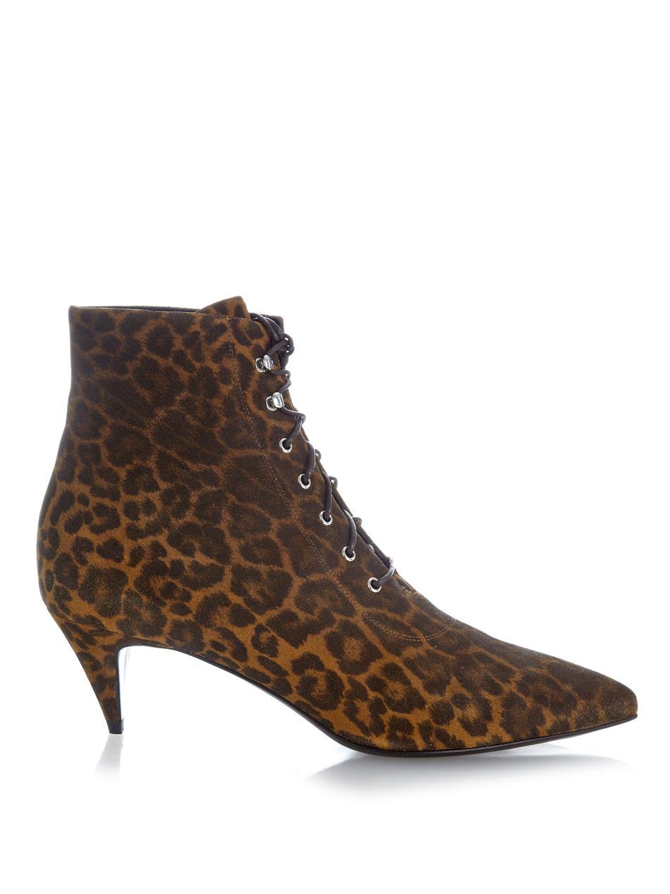 Lyst Saint Laurent Cat Leopard Print Suede Ankle Boots