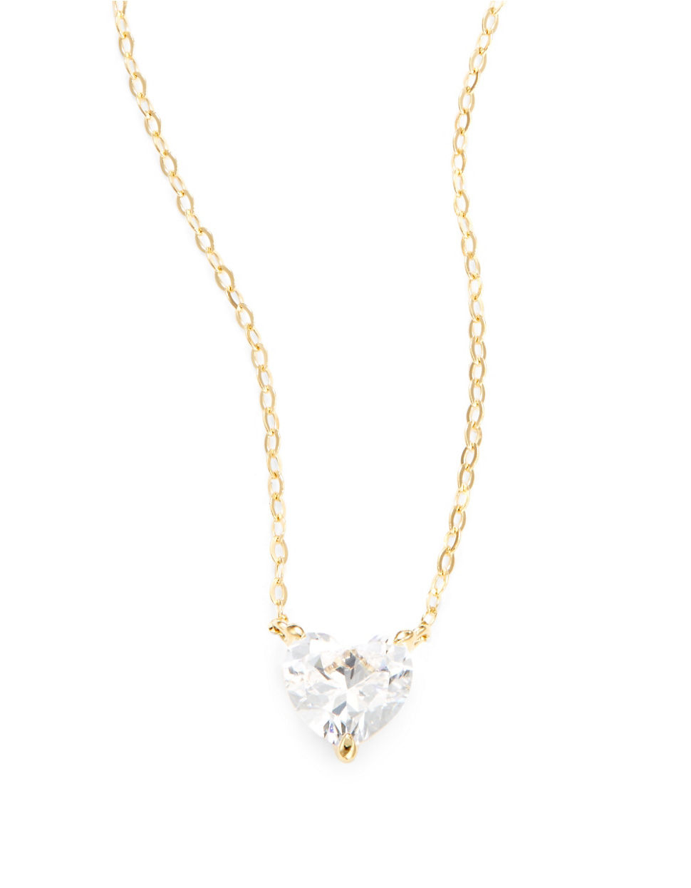 Lyst nadri cubic zirconia heart pendant necklace in metallic gallery aloadofball Image collections