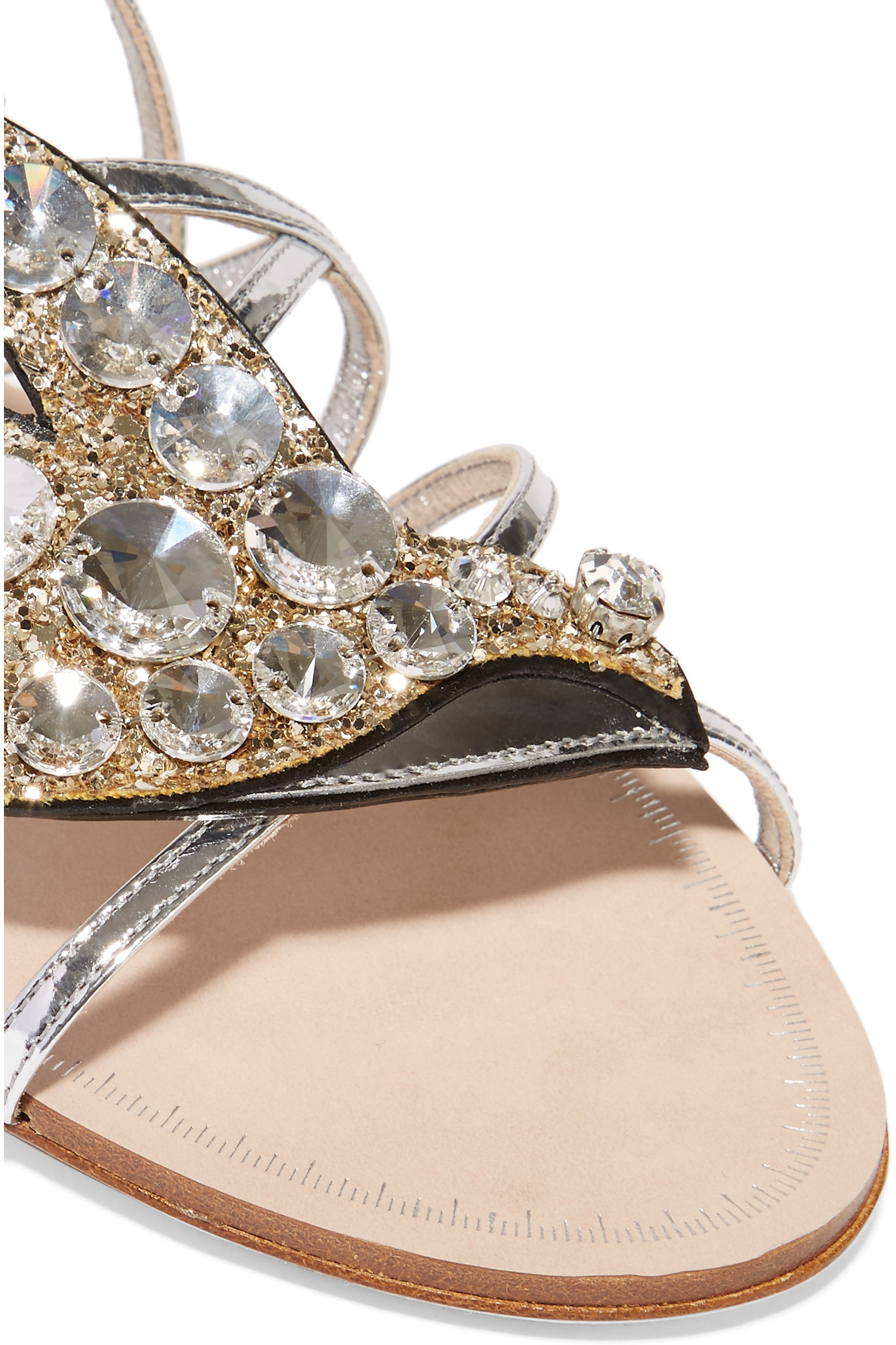 e619e4766eaa Lyst - Miu Miu Swarovski Crystal-embellished Glittered Metallic ...