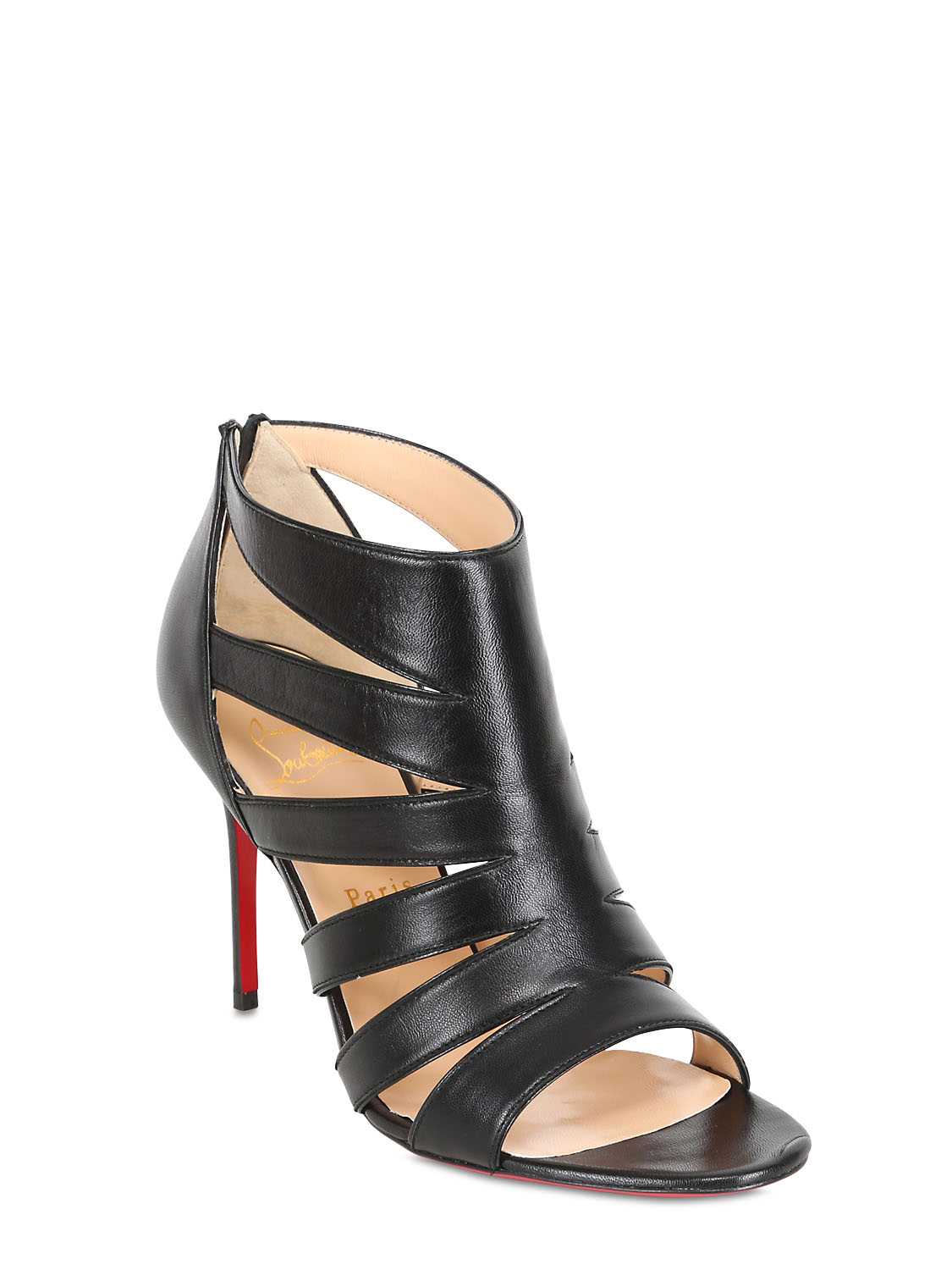 christian louboutin platform cage sandals Black leather stacked ...