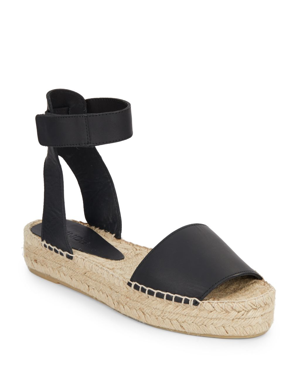 Lyst Vince Edie Leather And Jute Flatform Sandals In Black