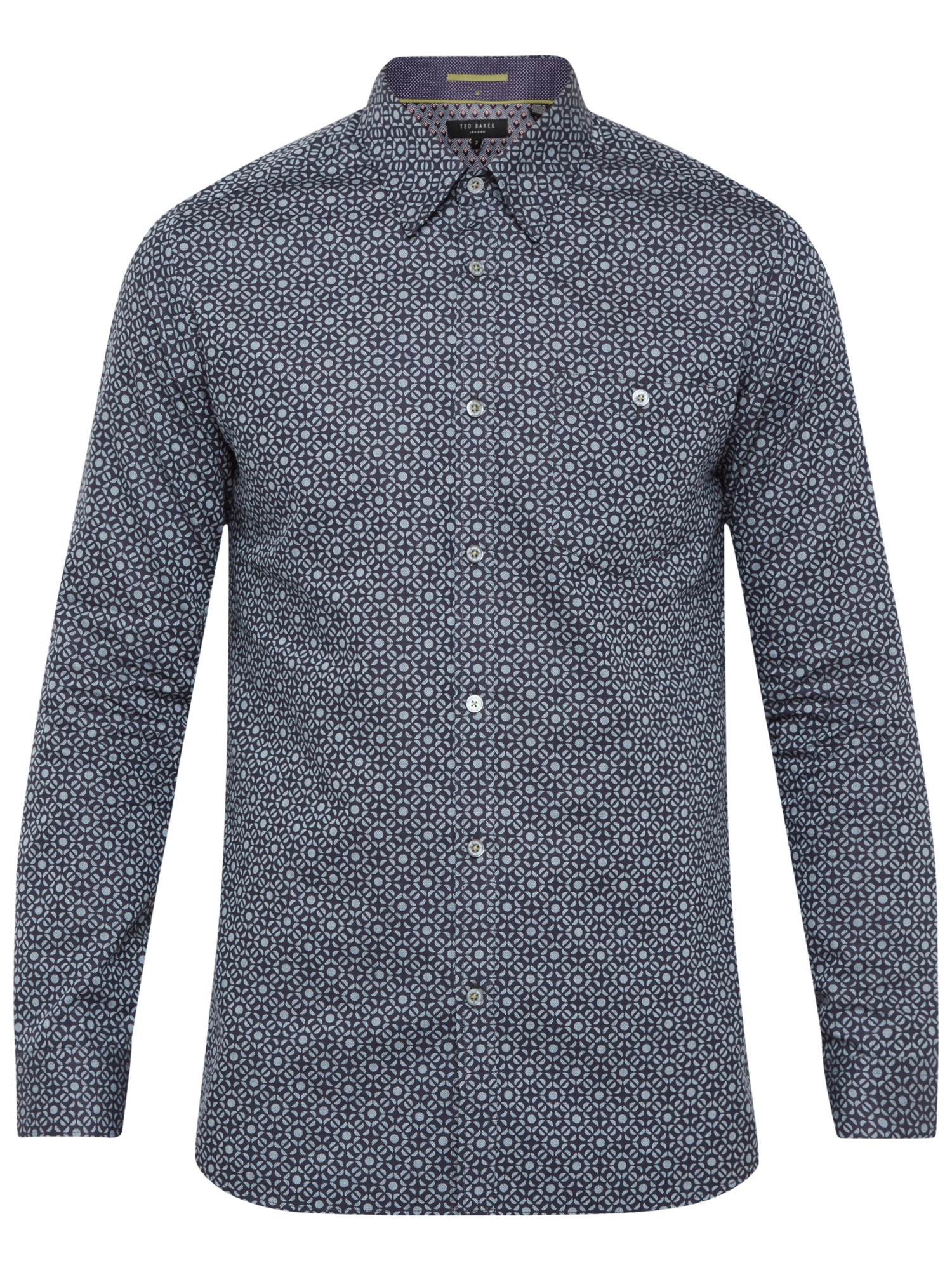 Lyst ted baker trammo tile print cotton shirt in blue for Ted baker blue shirt