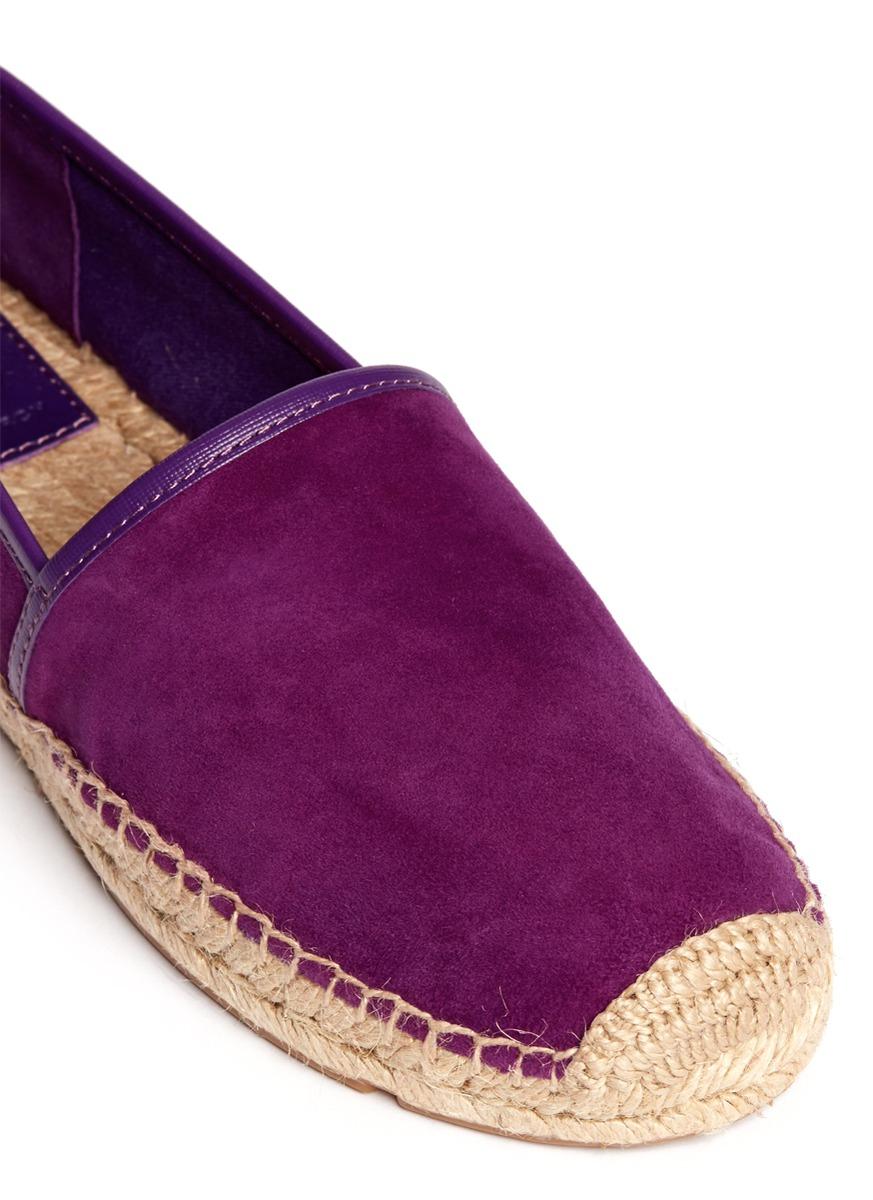 tory burch mckenzie suede espadrilles in purple lyst