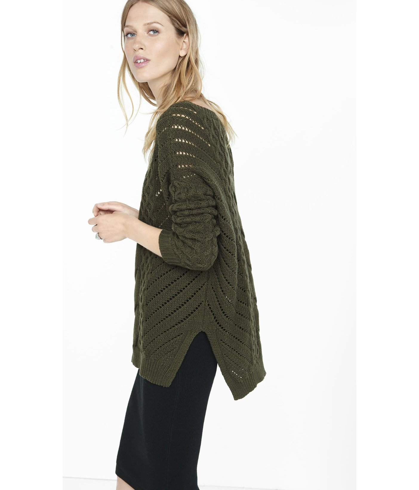 Express Oversized Open Cable Knit Tunic Sweater in Green | Lyst