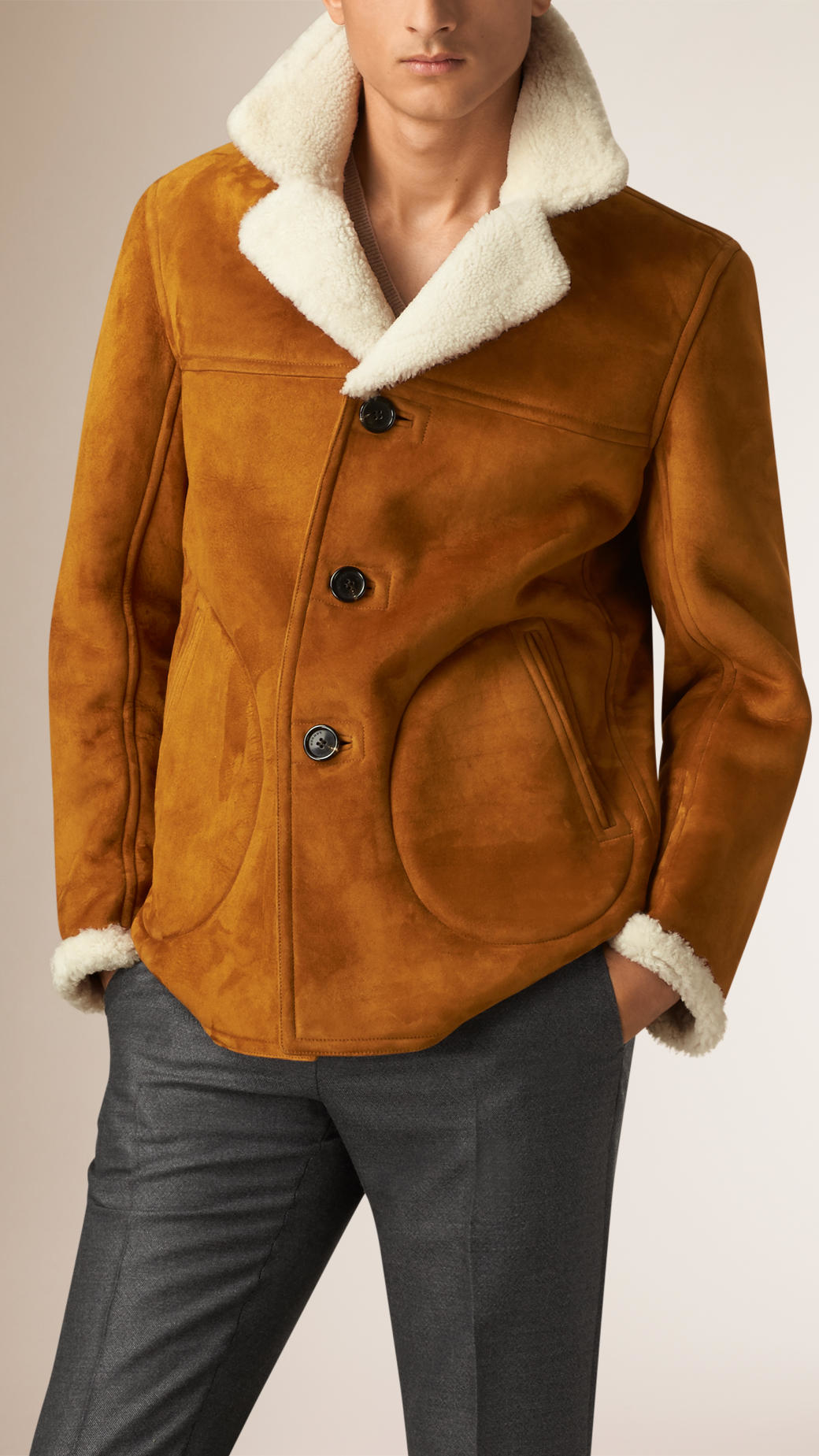 Burberry Suede And Shearling Donkey Jacket in Brown for Men | Lyst