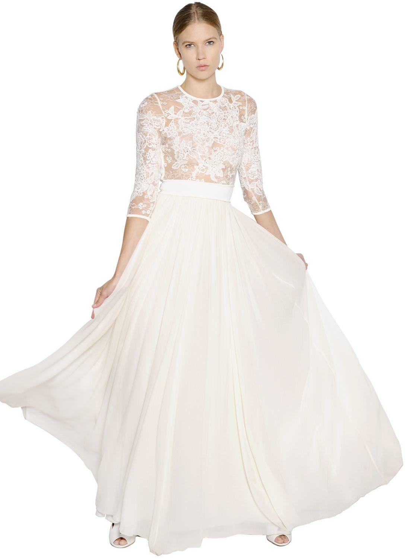 Lyst - Elie Saab Lace & Plisse Georgette Maxi Dress in White