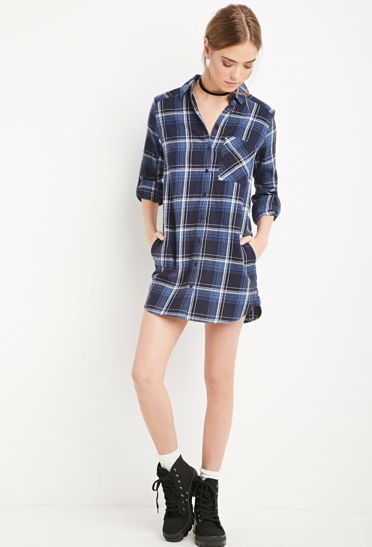 Forever 21 Plaid Flannel Shirt Dress In Blue Lyst