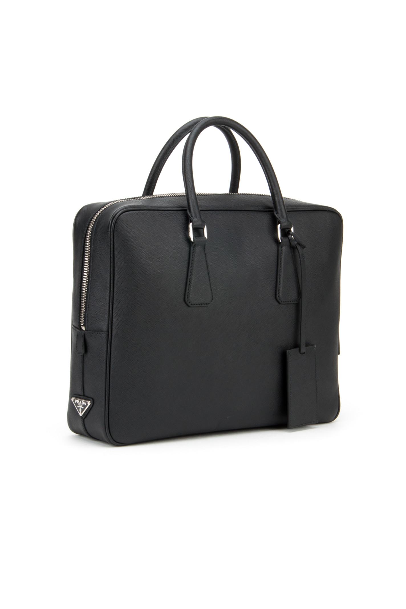 prada saffiano lux tote double zip - prada black cloth travel bag